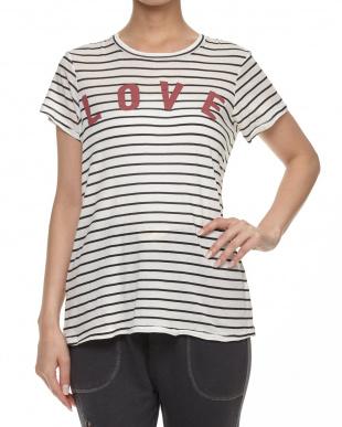 WHITE/BLACK LOVEロゴボーダーTシャツ見る