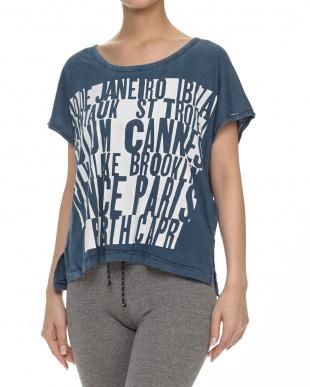 ブルー系 綿混グラフィックTシャツ見る