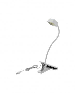 ホワイト  LEDクリップデスクライト/USB+AC対応見る