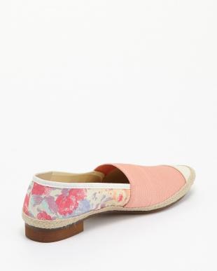 ピンク エラスティック花柄コンビスリッポン見る