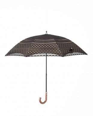 ブラック×ベージュ 晴雨兼用二重張りボーダーパラソル|WOMEN見る