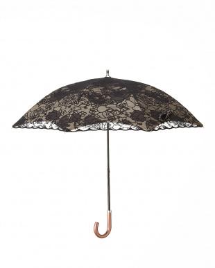 ブラック×ベージュ  晴雨兼用二重張りバラ柄パラソル|WOMEN見る