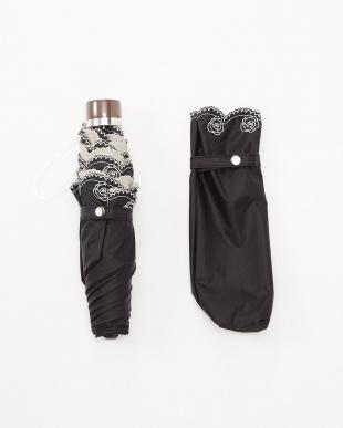 ベージュ  晴雨兼用裾刺しゅう 折りたたみパラソル|WOMEN見る