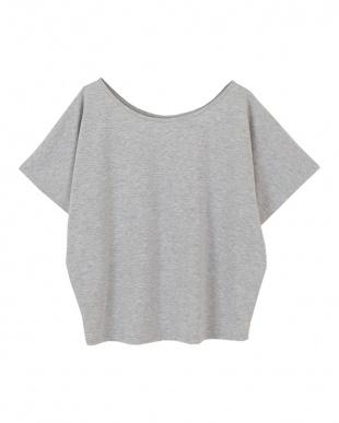 杢グレー  ゆるラウンドネックTシャツ見る