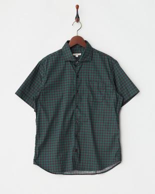 グリーン  ドット柄半袖シャツ見る