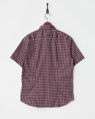 パープル  ドット柄半袖シャツ見る