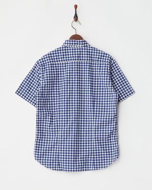 ネイビー  ドット柄半袖シャツ見る