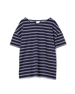 ネイビー3 Wome's Log-Staple Cotto Boxy Dropped Shoulder T-Shirt サンスペル ウイメンズ見る