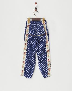 ブルー  シルクメンサテン パジャマ パンツ見る