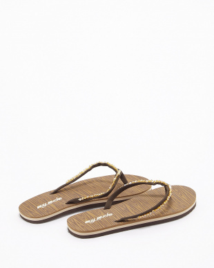 BROWN CRYSTAL BROWN SANDALS W ビーチサンダル見る