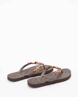 BROWN  COLORFUL JEWELS SANDALS W ビーチサンダル見る