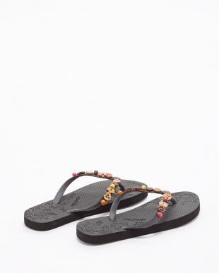BLACK  COLORFUL JEWELS SANDALS W ビーチサンダル見る