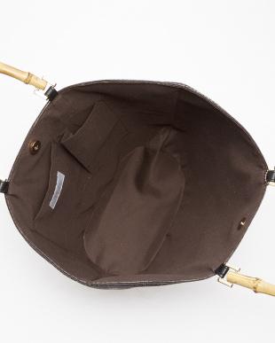 チョコ  バンブーハンドルポリプロピレンかごバッグ見る