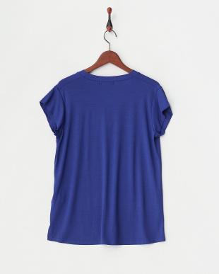 ブルー  深めVネックTシャツ見る