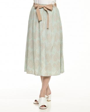 emerald green pattern DATIVO グログランリボンベルト付きプリントスカート見る