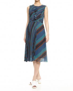midnight blue pattern CARICA アシンメトリープリーツドレス見る