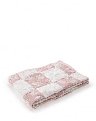 ピンク+ブルー ラミー麻100%敷パッド シングル2色組見る