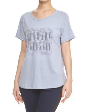 オイスターグレー  花柄+ロゴプリントルーズTシャツ見る