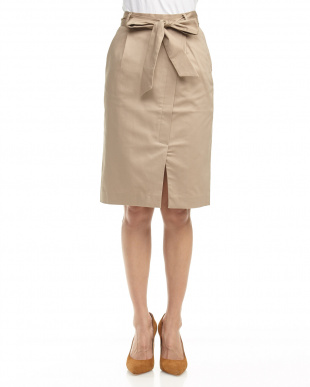 ベージュ  サッシュリボンタイトスカート見る