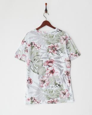 グリーンレッド トロピカルフラワープリントTシャツ見る