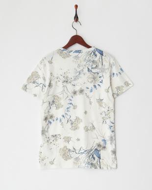ブルーフラワー マルチフラワープリントTシャツ見る