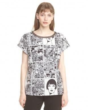 グレー バックチュール切り替え コミックプリントTシャツ見る