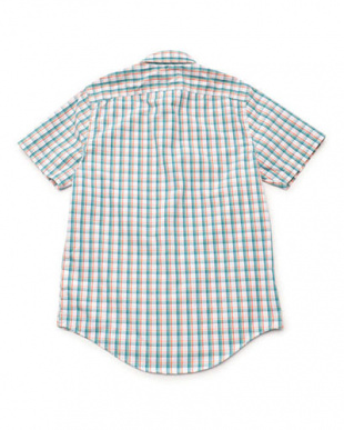 モザイクブルー  半袖 スティルリバー クールマックス プレードシャツ見る