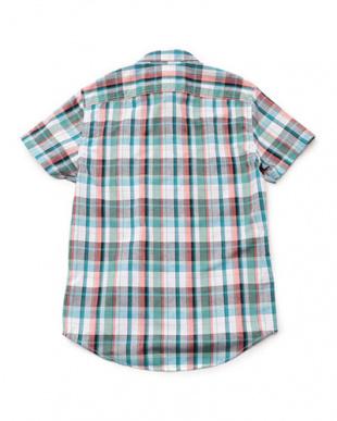 ダークサファイア  半袖 スティルリバー プレードシャツ(クールマックス)見る