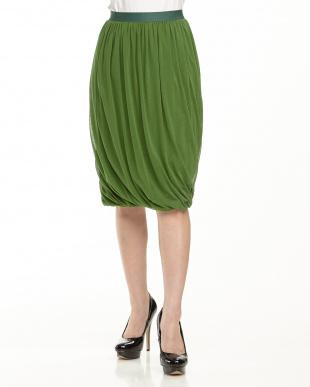 グリーン  シアーコットン 裾ゴムスカート見る