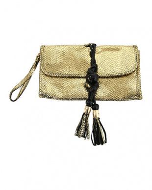 ゴールド  本革型押しメタリックバッグ見る