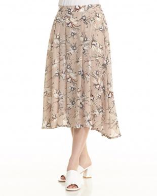 ベージュ  フラワープリントジョーゼットスカート見る