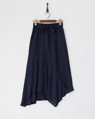 ネイビー  ランダムヘムジョーゼットスカート見る
