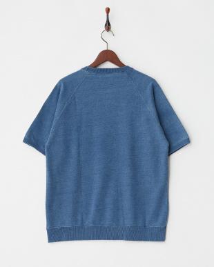 ブルー  インディゴ裏毛ラグラン半袖Tシャツ見る
