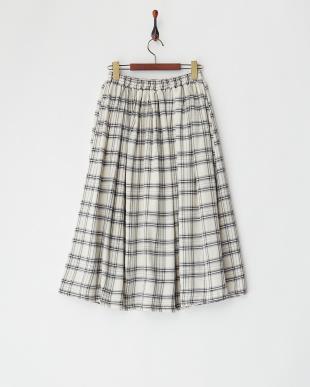 オフホワイト  タータンチェックフレアロングスカート見る
