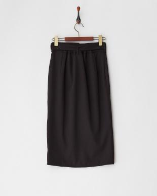 クロ  ベルト付きラップスカート見る