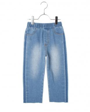BLUE スマイルポケット テーパードデニムパンツ見る