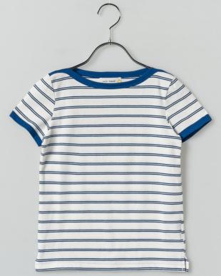 BLUE ボートネックボーダーTシャツ見る