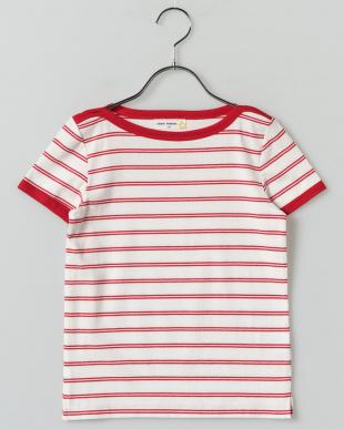 RED ボートネックボーダーTシャツ見る