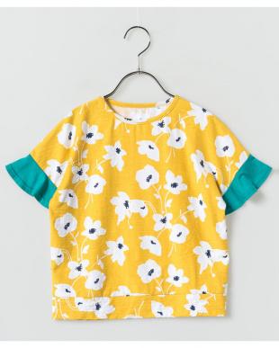 YELLOW  袖切り替えフラワーTシャツ見る