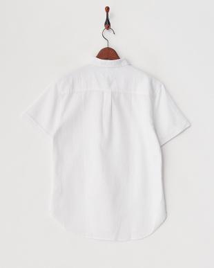 ホワイト  ワッフル織半袖シャツ見る