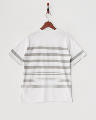 ホワイト×グレー  転換ボーダーTシャツ見る