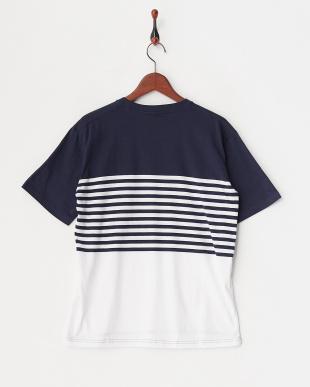 ネイビー×ホワイト  転換ボーダーTシャツ見る