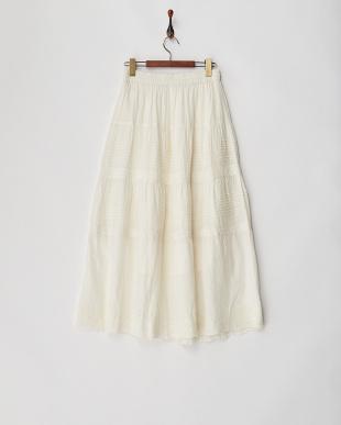 WHITE  刺繍マキシスカート見る