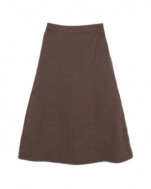 ブラウン  バックゴムAラインミディアムスカート見る