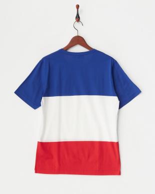 blue  配色ラインTシャツ見る
