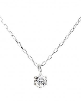 K18WG  天然ダイヤモンド ネックレス0.1ct + Pt900 ピアス計0.1ct(計2点セット)見る