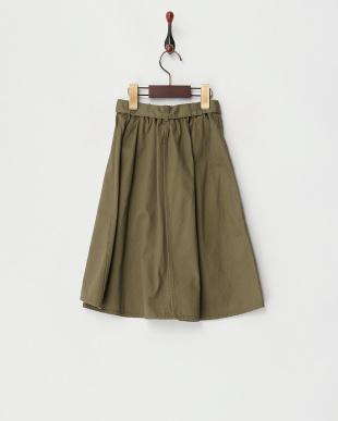 カーキ  リボンベルト コットンツイルスカート見る
