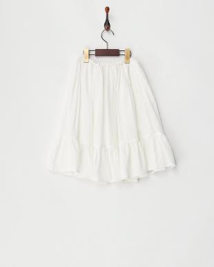 ホワイト 裾フリル クレープスカート見る