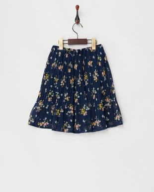 ネイビー  フラワープリント 消しプリーツスカート見る