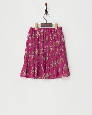 パープル  フラワープリント 消しプリーツスカート見る